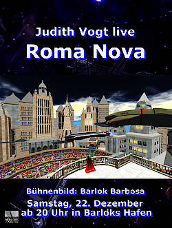 Plakat zur Lesung aus Roma Nova in Second Life am 22.12.2018